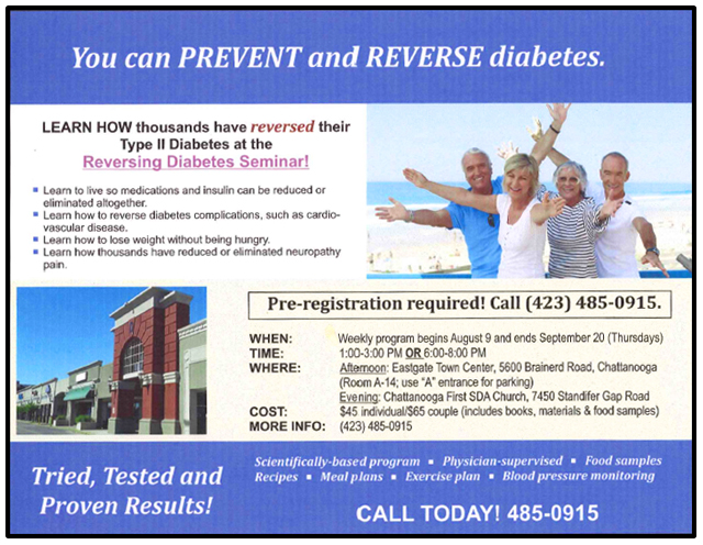 Chattanooga Reversing Diabetes Seminar August 9th through September 20th